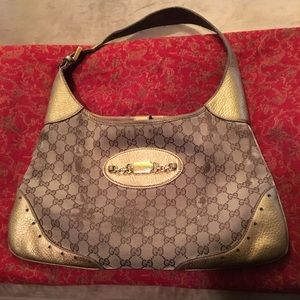Rare Metallic Gold Leather Gucci Large Hobo Bag